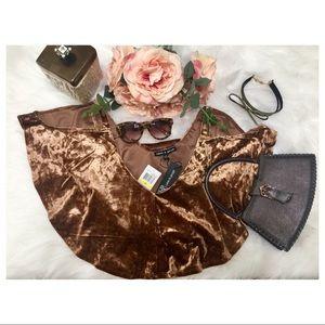 Cable & Gauge Brown Velvet Blouse Size M